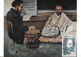 """1511 -EMILE ZOLA , 1er Jour 4-02-67 Paris Tableau """"Alexis Loge Zola"""" P. Cézanne - RR - 1960-69"""