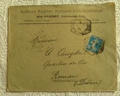 ENVELOPPE COMMERCIALE 1925 Lorraine Aciéries Réunies Burbach-Eich-Dudelange Mine Kraiemer Volmerange Marcophilie - Alsazia-Lorena