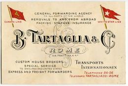PUBBLICITA COMPAGNIA DI NAVIGAZIONE CUNARD LINE WHITE STAR LINE B. TARTAGLIA ROMA - Pubblicitari