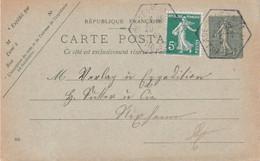 5c Semeuse Cplt Entier CP 15c Semeuse Obl Provisoire Agence Postale Village Neuf Haute-Alsace 20/6/1921 Petit Millésime - Alsace Lorraine