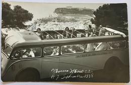 """MONACO - 1958 CAR DECAPOTABLE """"SNCF"""" """"ROUTE DU JURA ET DU LITTORAL""""   AVEC SES PASSAGERS SURPLOMBE MONTE-CARLO... RARE - Monte-Carlo"""