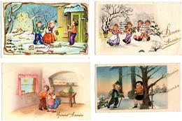 BONNE ANNEE. LOT DE 4 PETITES CARTES. ENFANTS - New Year