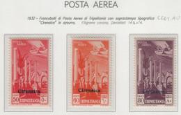 Colonie - Cirenaica - 1932 - Posta Aerea Di Tripolitania Soprastampati S. Cpl 3v MNH** - Cirenaica