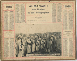 CALENDRIER ALMANACH DES  POSTES  ET TELEGRAPHES ANNEE 1918 COLONEL 1 SPAHIS DECORE LES OFFICIERS 14/18 - Formato Grande : 1901-20