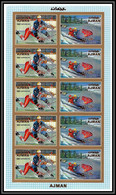 Ajman - 2614b N°1143/1144 B Hockey Overprint Rotary Jeux Olympiques Olympic Games Sapporo72 MNH Sheet Non Dentelé Imperf - Hockey (Ijs)