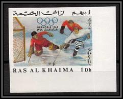 Ras Al Khaima - 626/ N°209 B Ice Hockey Grenoble 968 Non Dentelé Imperf Jeux Olympiques Olympic Games Neuf ** MNH - Jockey (sobre Hielo)