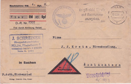 Germany-1938 Official German Military Fulda Money Order Payment Request Letter Cover To Sohluchtern - Briefe U. Dokumente