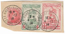 """TIMBRES  CROIX ROUGE BELGIQUE ; Gouvernement  A """" LE HAVRE """"Guerre  De 1914; Gouvernement Transféré Au HAVRE TB - 1914-1915 Rode Kruis"""
