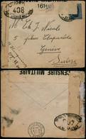 DEL044 - Lettre Censurée De La Poste Militaire Belge 6 à Genève ( Suisse Switzerland ) 1918 Double Censure France - Altre Lettere
