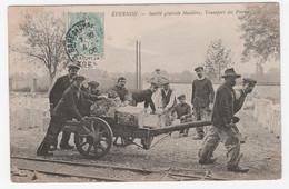 28 - EPERNON - USINE - SOCIÉTÉ MEULIÈRE -  TRANSPORT DES PIERRES -  1906 - Epernon