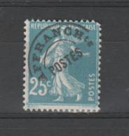 FRANCE / 1922-1947 / Y&T Préo N° 56 : Semeuse 25c Bleu - Sans Gomme - 1893-1947