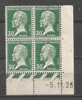 FRANCE ANNEE 1923/1926 N°174 BLOC DE 4EX NEUFS** MNH (Charnière Sur Le Bord De Feuille ) COIN DATE COTE 10,00 € - ....-1929