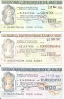 MINIASSEGNI - BANCA PROVINCIALE LOMBARDA Associazione Commercianti Provincia Pavia £.100-150-200 - [10] Cheques Y Mini-cheques