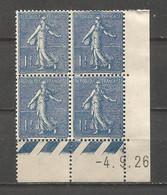 FRANCE ANNEE 1924/1932 N°205 BLOC DE 4EX NEUFS** MNH COIN DATE COTE 80,00 € REMISE-88% - ....-1929