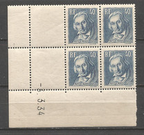 FRANCE ANNEE1933 N°295 BLOC DE 4EX NEUFS** MNH COIN DATE COTE 33,00 € REMISE-88% - 1930-1939