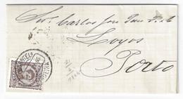 Portugal Lettre De Figueira 21 Fevrier 1885 A PORTO Poinçon Nominatif Figueira Da Foz, Timbre 25 Reis D Luis #57 Mundifi - Lettres & Documents