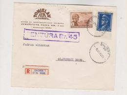 CROATIA WW II ZAGREB 1943 Registered Censored Cover To Slavonski Brod,legions In Russia - Croatia