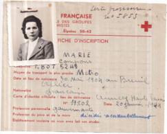 Croix Rouge Française 1939-45 - Fiche D'Inscription 2 Juillet 1945, Mlle Anna Marie GENÈTE - Red Cross