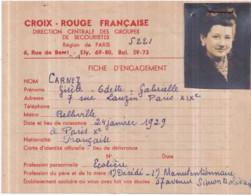 Croix Rouge Française 1939-45 - Fiche D'engagement 14 Mai 1945, Gisèle CARNEZ - Red Cross