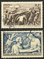 YT 497 Et 498 (°) Obl 1941 Secours National 1f+2f Brun Violet 2f50+7f50 Bleu (côte 4,6 Euros) – Bleu2 - Used Stamps
