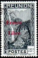 Réunion Obl. N° 224 - Vue -> Bras Des Demoiselles - 15c Noir Surchargé France Libre - Gebruikt