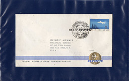 ##(DAN2012)- GREECE1966-Olympic Airways 1st Transatlantic Flight Athens-New-York Cover - Briefe U. Dokumente
