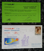 CONCORDE - Vol AF5149 Du 26/09/1988 – MADRID – STRASBOURG – Opération Saturne Contre Le Cancer - Concorde