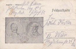 Feldpostkarte - In Treue Fest - Kaiser Wilhelm U. Franz Joseph - Feld Kanon. Reg. No. 5 Nach Wien - 1914 (53490) - Briefe U. Dokumente