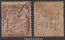 1Fr Duval Marron Oblitéré  Aspect TB (Y&T N° 25, Cote  125€) - 1859-1955 Used
