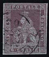 TOSCANA 1851 9 CR. BRUNO VIOLACEO SU AZZURRO VFU SASSONE N. 8b CERTIFICATO BIONDI SPLENDIDO PERFETTO CV €1.100+++ - Toskana