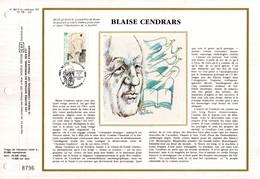 """"""" BLAISE CENDRARS """" Sur Feuillet CEF 1er Jour N°té Sur Soie De 1987. N° YT 2497 Parf état FDC - Non Classificati"""