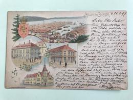 Hilsen Fra Bergen. Voyage En 1897. Cromolithographie. Gruss Aus. - Norvegia