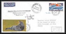 2238 Terres Australes TAAF Lettre Cover Dufresne N°42 Signé Signed 1981 Aquarelle Handmade Leopard Leopard Seal - Storia Postale