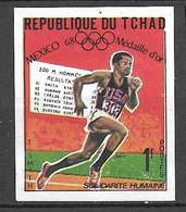 Tchad N° 204 Non  Dentelé JO Mexico 200 Mètres  Tommie Smith   Neuf  ( *  )  B/TB  Soldé  Le Moins Cher Du Site ! ! ! - Atletica