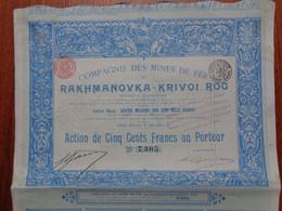 RUSSIE - CIE DES MINES DE FER DE RAKHMANOVKA-KRIVOI ROG - ACTION DE 500 FRS  - BRUXELLES 1898 - Sin Clasificación