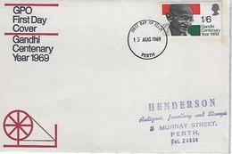 GB 1969  Gandhi Centenary Year   FDC (Cancelled Perth,Scotland) - 1952-1971 Pre-Decimal Issues
