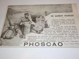 ANCIENNE PUBLICITE UN ALIMENT FRANCAIS  PHOSCAO  1915 - 1914-18