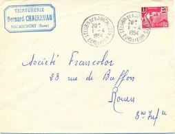 ST LUBIN DES JONCHERES EURE ET LOIR TàD 1-4-1954 MARIANNE GANDON  15 F. Sur 18 F. Rose-carmin YT 968 - 1921-1960: Période Moderne
