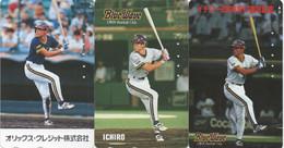 Thème Pro Baseball : SUZUKI Ichiro 3089 Hits à MLB (Lot De 3 Télécartes Japonaises Avant 2000) - Deportes