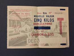 Billet Matiere - Rationnement - 5 Kg Charbon De Bois - Buoni & Necessità