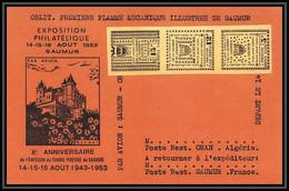 85550/ Maury N°4/6 Grève De Saumur 1953 Jaune Bande Sur Carte Orange RR - Strike Stamps