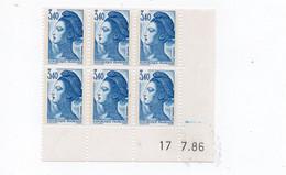 Liberté 3fr40 Bleu YT 2425  Bloc De 6 Coin Daté Du 17/7/1986 - 1980-1989