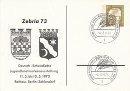 BPP 46/4  Zebria 73 - Deutsch-Schwedische Jugendbriefmarkenausstellung 11.5. Bis 13.5. 1973, Berlin 12 - Postales Privados - Usados