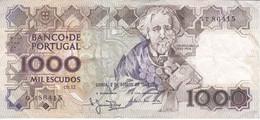 BILLETE DE PORTUGAL DE 1000 ESCUDOS  DEL AÑO 1988 SERIE GT (BANKNOTE-BANK NOTE) - Portugal