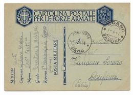 DA LOANO A CONFIENZA - 1.4.1941 - Militaire Post (PM)