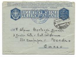 DA PIGNA ( IMPERIA ) A CUNEO - 4.10.1941. - Militaire Post (PM)