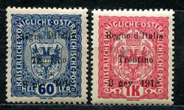 Z2281 ITALIA TERRE REDENTE Trentino 1919, Sassone 13, 15, MH*, Val. Cat. Sassone: € 340, Ottime Condizioni - Trento