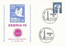 BPP 51  ZEBRIA 73 Deutsch-Schwedische Partnerschafts-Ausstellung Der Philatelisten Jugend, Berlin 12 - Postales Privados - Usados