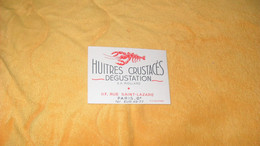 CARTE PUBLICITAIRE DATE ?. / S. A MOLLARD HUITRES CRUSTACES DEGUSTATION PARIS 8e.. - Advertising