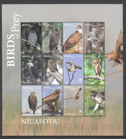 MV38 2018 EXCLUSIVE NIUAFO'OU FAUNA BIRDS OF PREY EAGLES OWLS 22 EURO NOMINAL 1SH MNH - Adler & Greifvögel